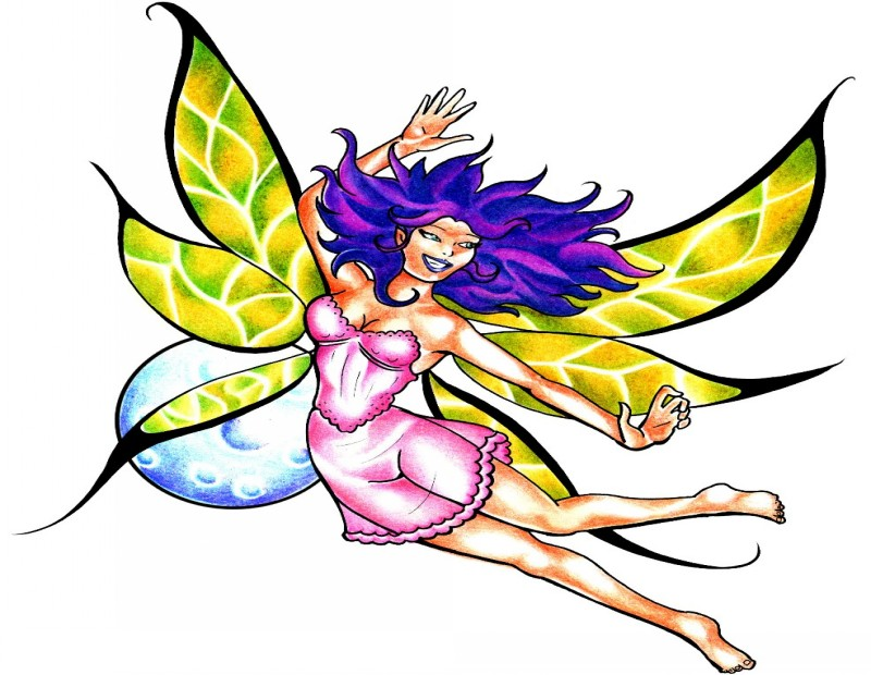 Cheerful violet-haired fairy in pink dress with yellow wings tattoo design