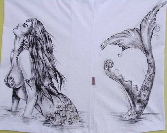 Chic black-and-white pencilwork mermaid lying in water on a belly tattoo design