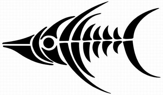 Chic black fish bone tattoo design