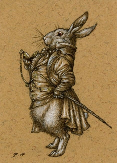 Chic dressed mr march hare looking on his watch tattoo design
