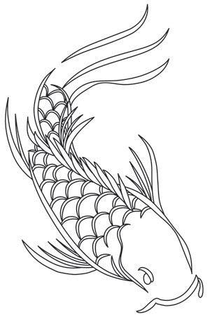 Chic outline koi fish tattoo design