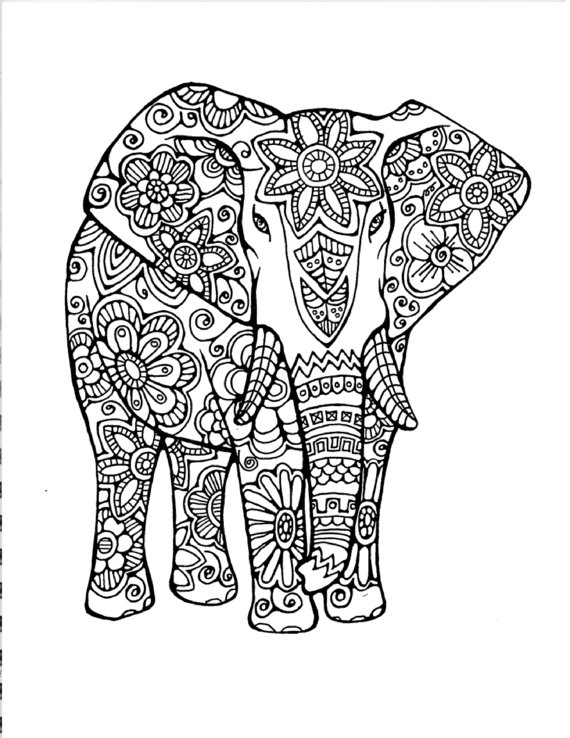 Chic Uncolored Floral Elephant Tattoo Design