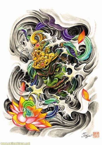 Chinese demon in golden helmet and beautiful lotus tattoo design