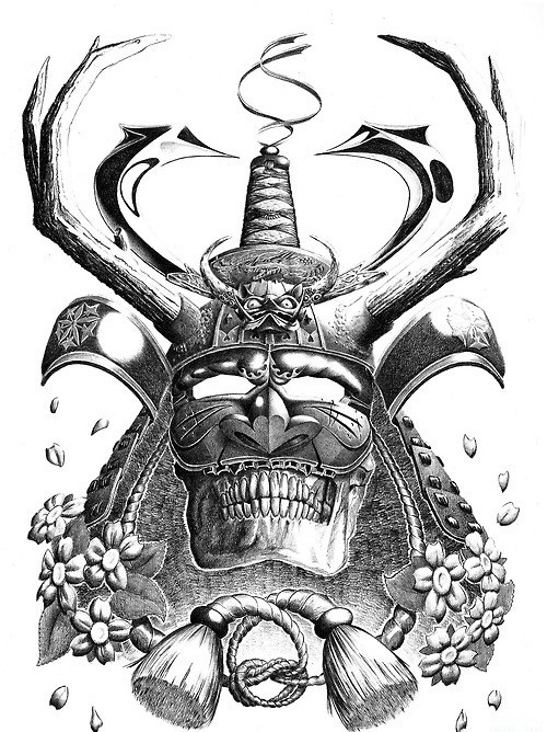 Chinese demon samurai with the evil grin tattoo design