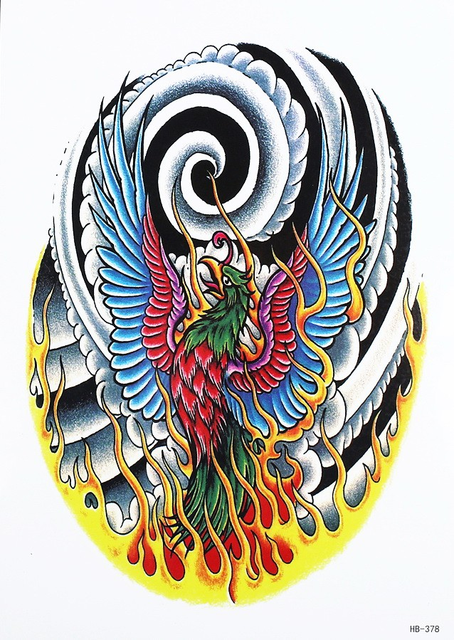 Chinese style phoenix burning in fire on swirly smoke background tattoo design