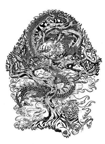 Chinese tiger and dragon curled around tree tattoo design by Mu63n