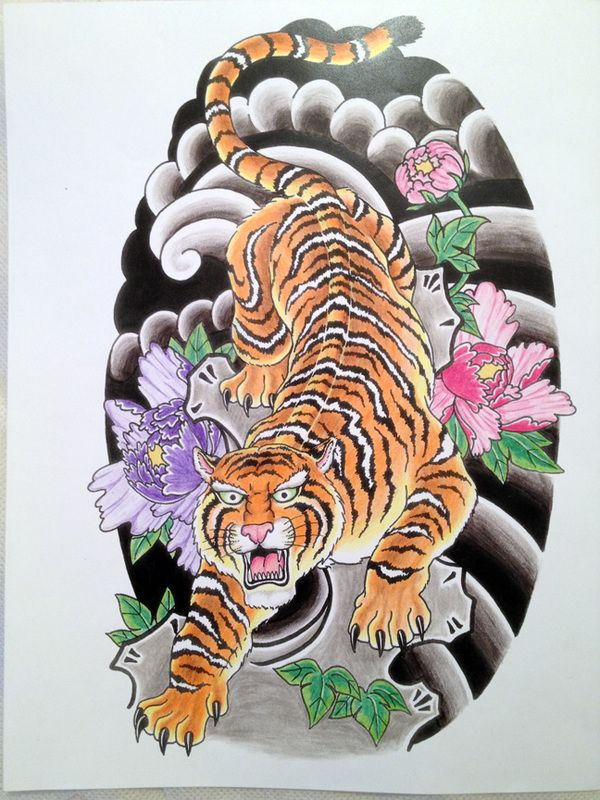Chinese tiger on cloudy adn peony flowers background tattoo design