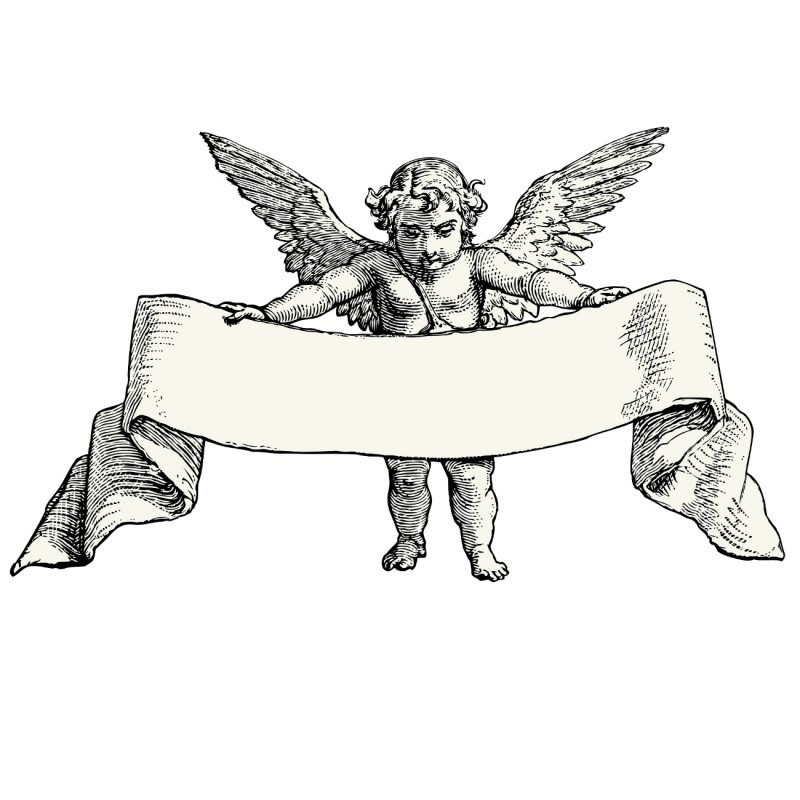 Chubby cherub angel with a large memorial banner tattoo design