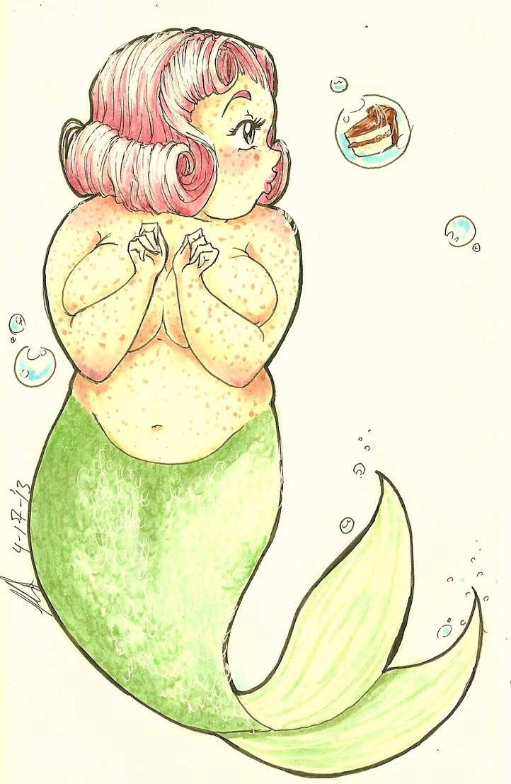 Chubby green-tail spotted mermaid dreaming about a cake tattoo design
