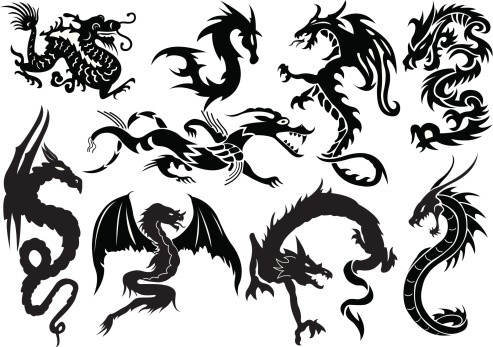 Classic black-ink asian dragon tattoo designs