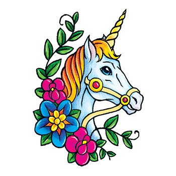 Classic colorful unicorn head with flowers tattoo design for girls