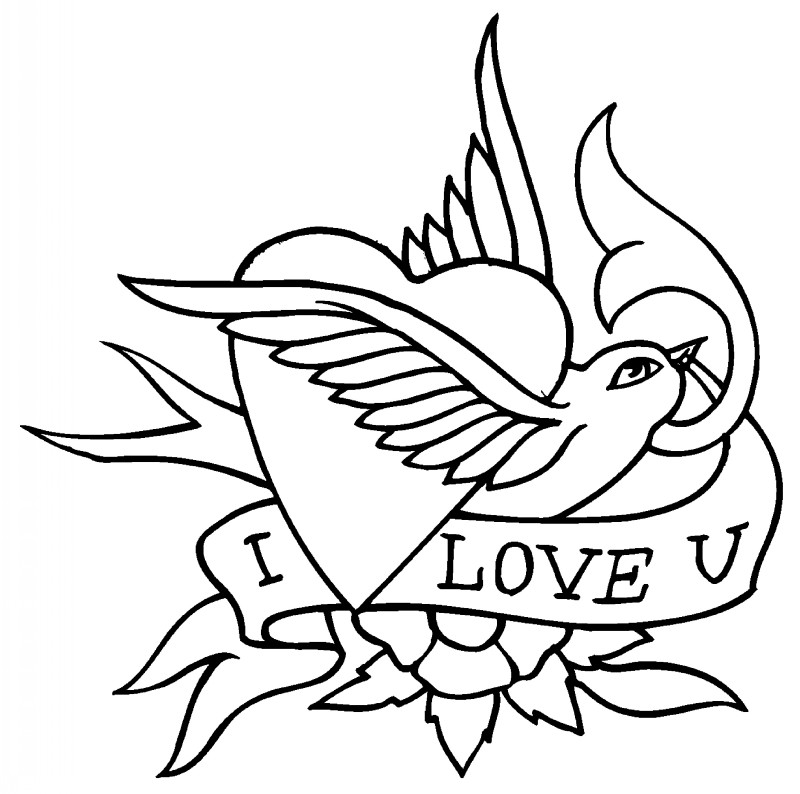 Classic Outline Sparrow With Heart And Banner Tattoo Design Tattooimages Biz