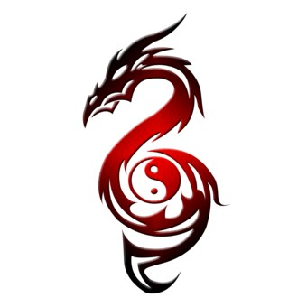 Classic red-ink dragon and yin yang tattoo design
