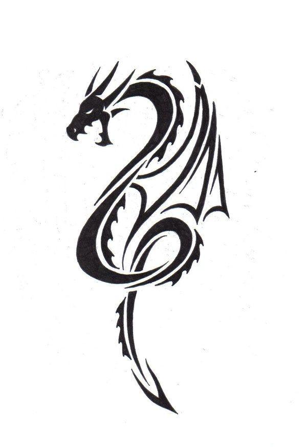 Classic tribal dragon in black color tattoo design