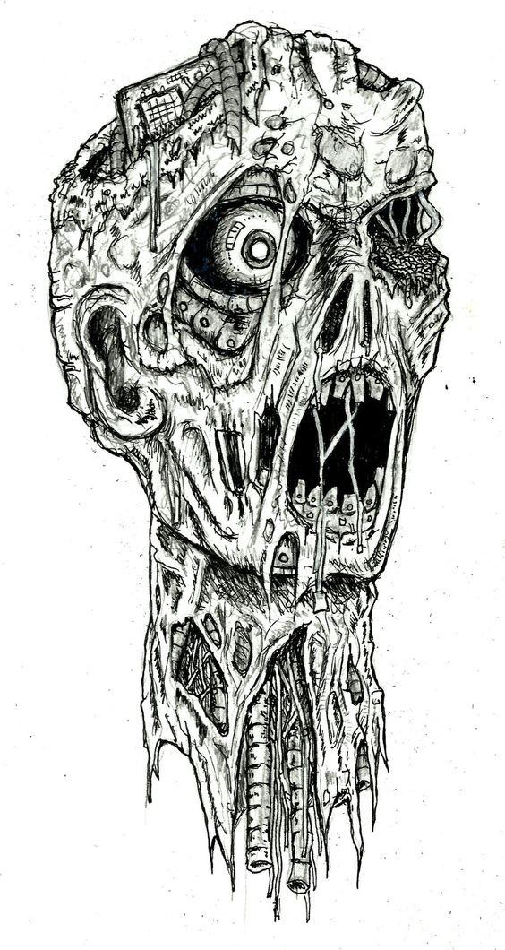 Classis black-ink crying zombie portrait tattoo design