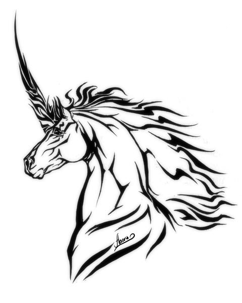Classis black-ink tribal unicorn head tattoo design by Aaorin