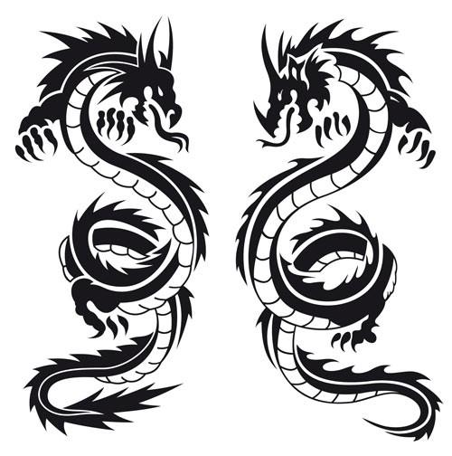 Classis black tribal dragon tattoo designs