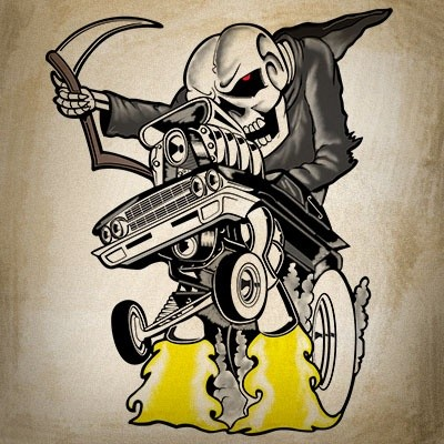 Cocky death driving a tiny car in cartoon style tattoo design