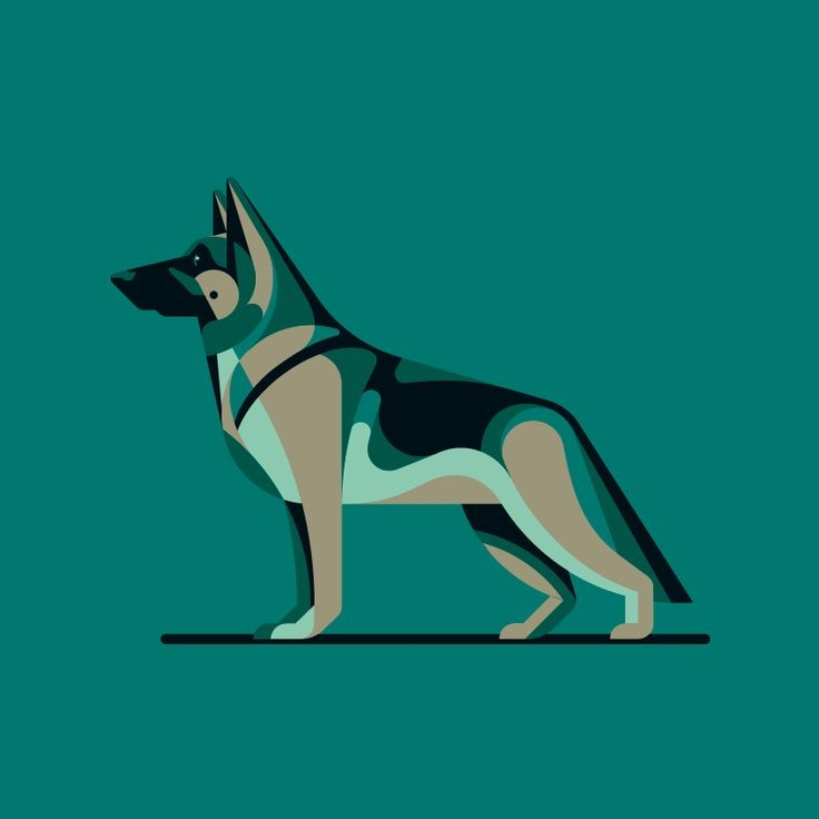 Colored cartoon static german shepherd tattoo design