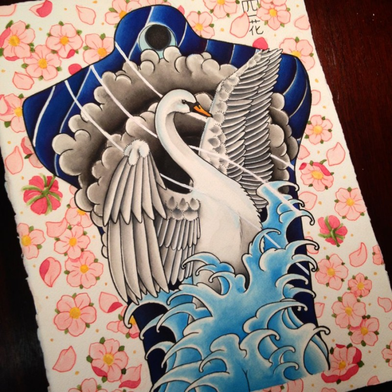 Colored chinese style swan in water tattoo design for back by Jopielee
