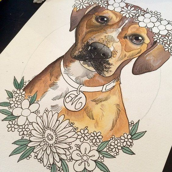 Colored domestic animal with collar and uncolored flowers tattoo design