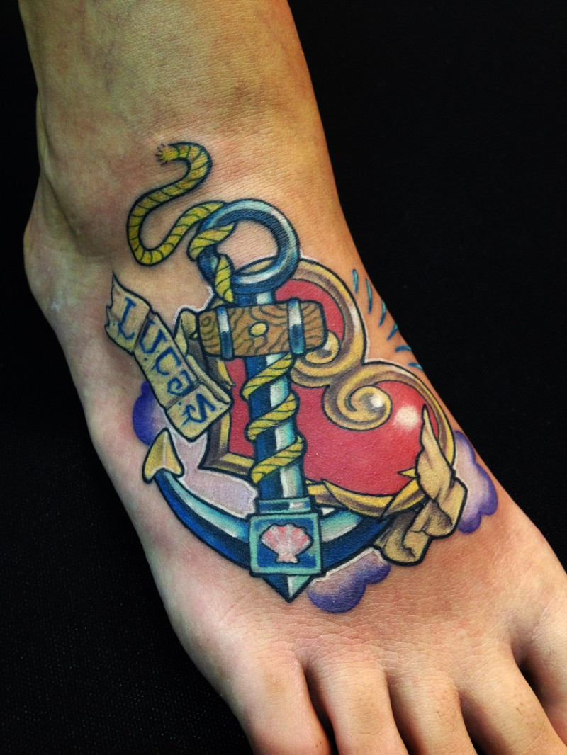 Colored old school anchor with cute huge red heart tattoo on foot