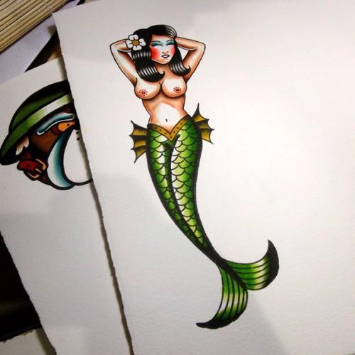 Colored old school green-tail mermaid tattoo design