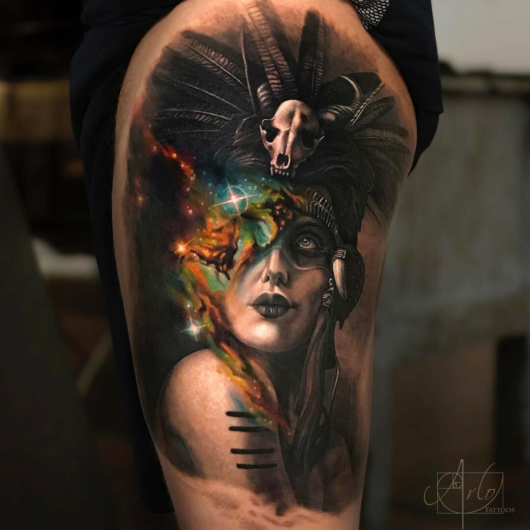 Colored portrait of witch tattoo for men
