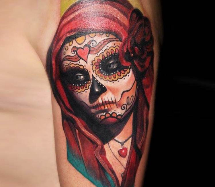 Colored santa muerte tattoo by Dave Paulo