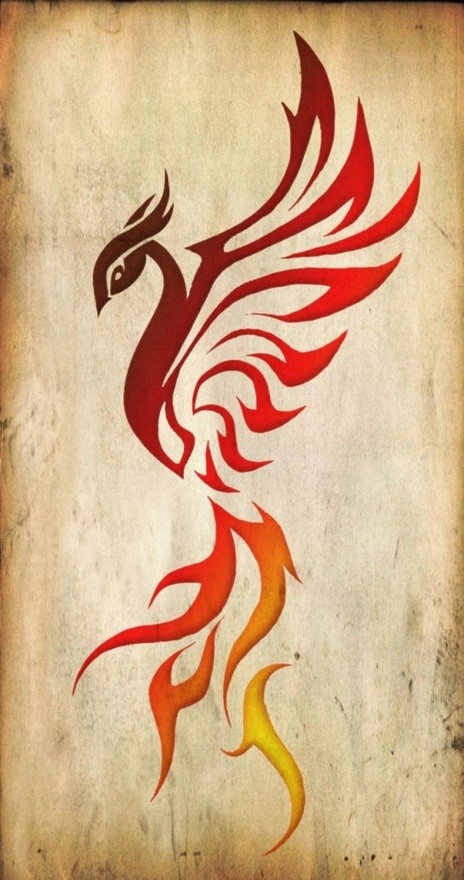 Colored tribal phoenix silhouette tattoo design