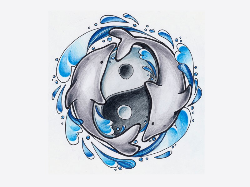 Colored yin yang dolphin couple and water splashes tattoo design