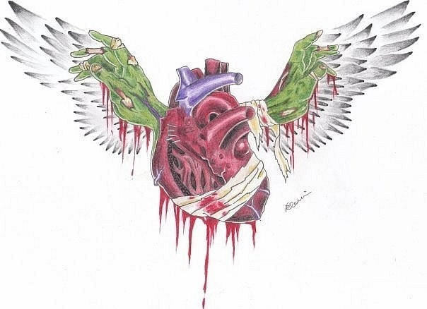 colored zombie heart with angel wings tattoo design. Black Bedroom Furniture Sets. Home Design Ideas