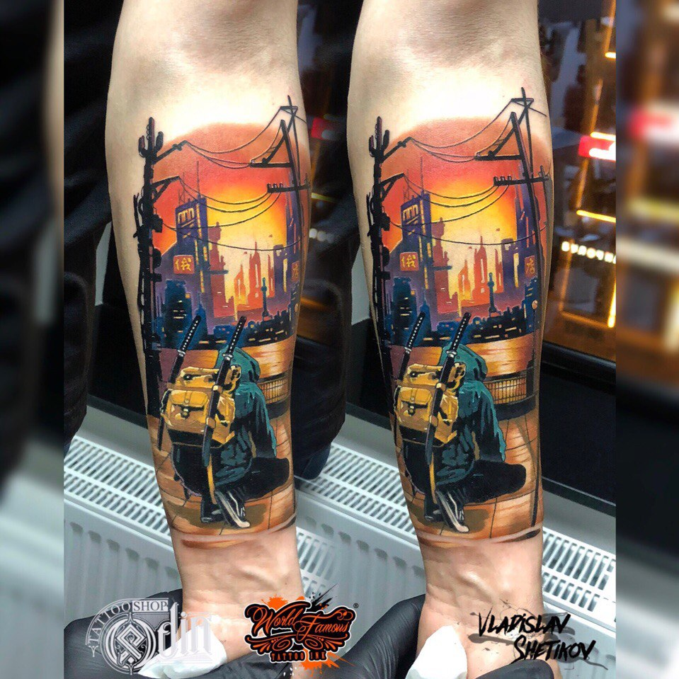 Colorfill tattoo with man and two katanas