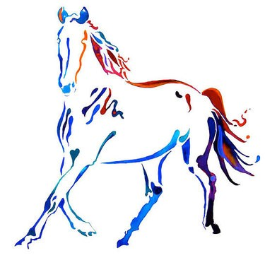 Colorful-line horse tattoo design