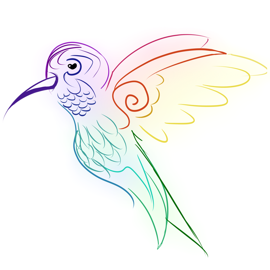 Colorful-line hummingbird tattoo design by Vampire Zoo