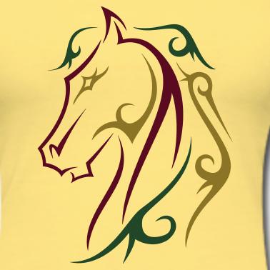 Colorful-line tribal horse head in profile tattoo design