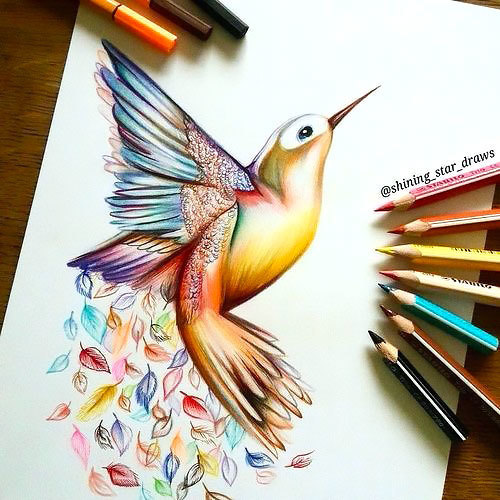 Colorful-pencil hummingbird and rainbow leaves background tattoo design