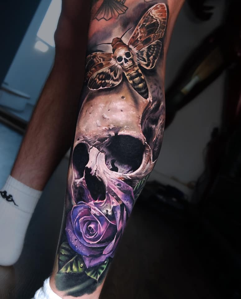 Colorful Skull with Rose and Moth tattoo
