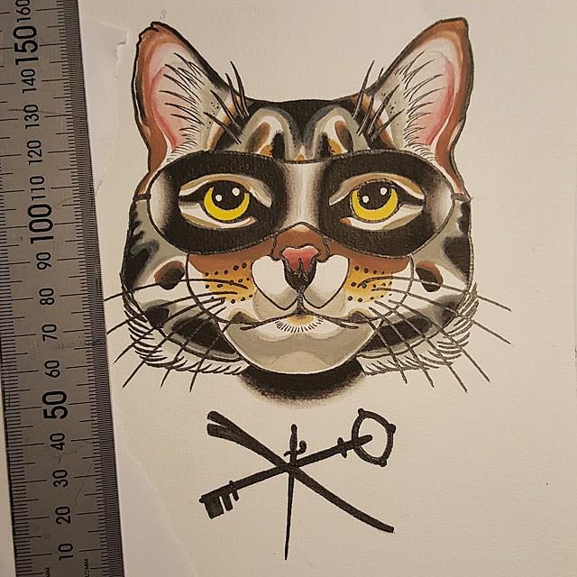 Colorful animal incognito in mask tattoo design
