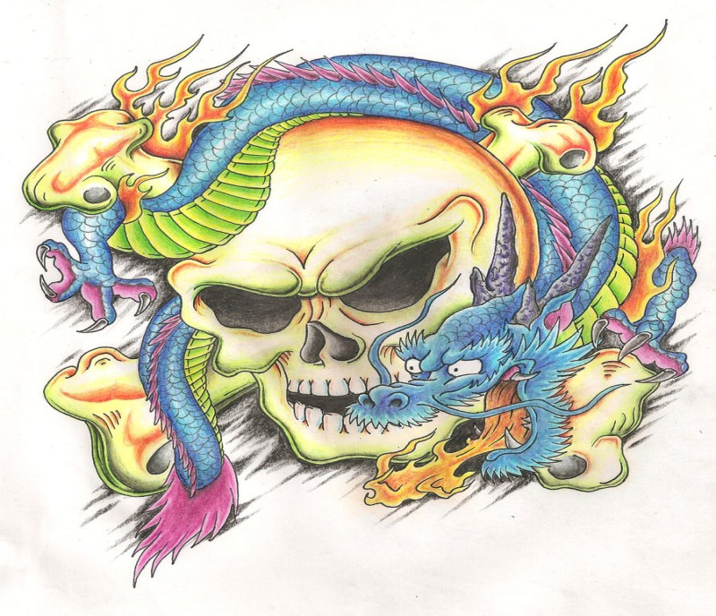 Colorful asian dragon and human skull with crossed bones tattoo design