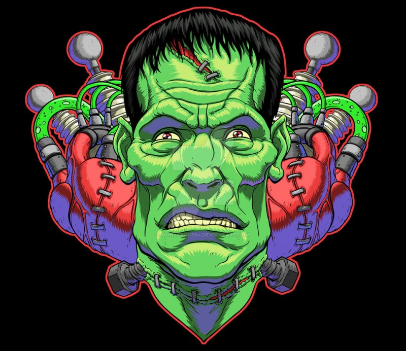 Colorful biomechanical frankenstein zombie tattoo design by Monstrous 64
