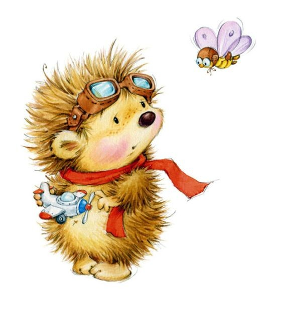 Colorful cartoon hedgehog pilot with toy plane and bee tattoo design