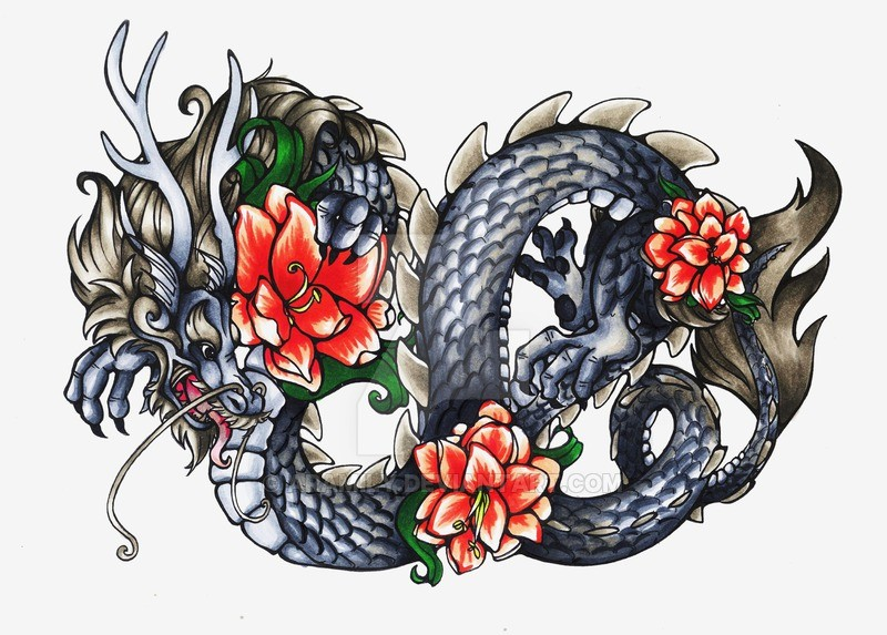 Colorful chinese horned dragon with peony buds tattoo design by Aramily
