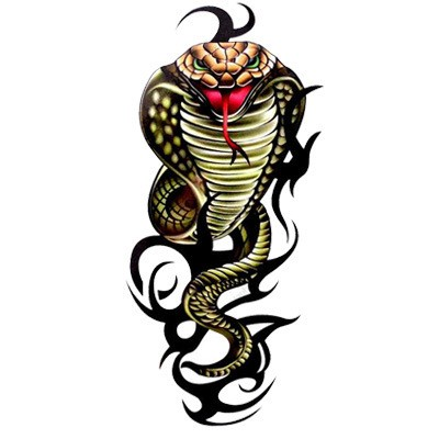Colorful cobra snake and tribal line elements tattoo design