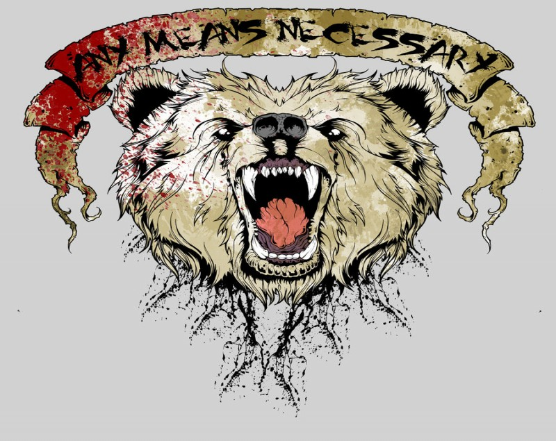 Colorful crying grizzly face with blooded banner tattoo design by Skin Pupcoss