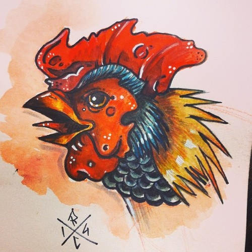 Colorful crying rooster head tattoo design
