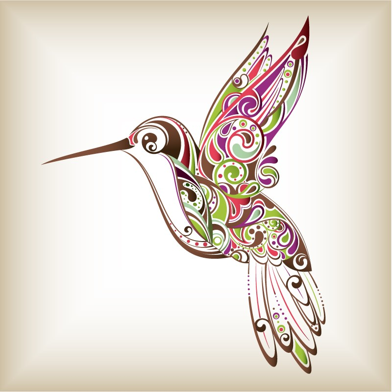 Colorful curl-patterned hummingbird tattoo design