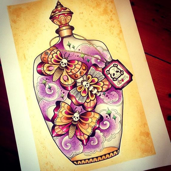 Colorful death mothes flying in purple smoke in jar tattoo design