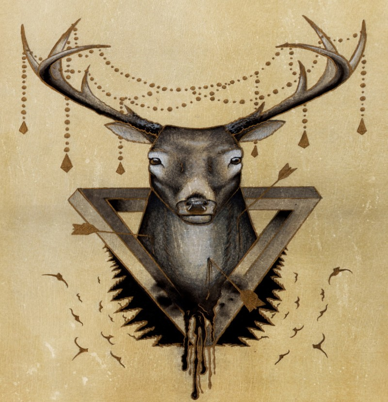 Colorful deer with triangle and lace decorations tattoo design