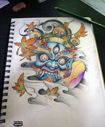 Colorful demon king with falling maple leaves tattoo design